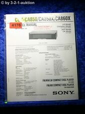 Sony Service Manual CDX CA850 /CA850X /CA860X CD Player (#4176)