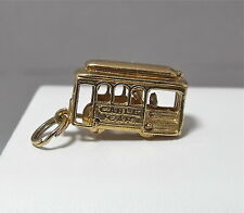 14k Gold San Francisco Trolley Cable Car Charm Pendant Moving Wheels Driver 3.5g