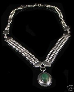 Sterling Silver Triple Strand Green Turquoise Necklace