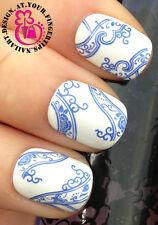 Nail Art Wrap Agua calcomanías de transferencia impresionantes Jarrón Azul patrón de remolino # 11