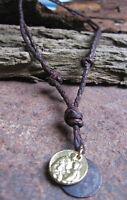 Münze neu Leder Kette Amulett Heilige Lederkette Herrenkette Braun Herren Damen