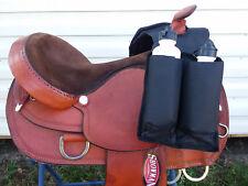 Black Nylon Western Saddle Trail Horn Bag Pockets Insulated Bottle Drink Holder