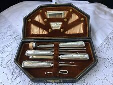 ANTIQUE STERLING SILVER HARDY BROS. 1911 THIMBLE SEWING TOOLS SET BOX ETUI