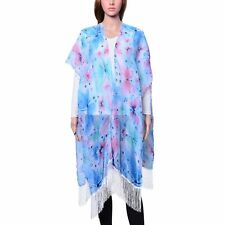 SKY BLUE WHITE TASSEL BUTTERFLY LONG COVER UP 100% VISCOSE RUANA PONCHO 71 X 35