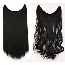 US Straight Curly Wire Headband One Piece Clip in on Hair Extensions As Human