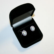 Oval Created Opal Diamond Alternatives Stud Earrings 14k White Gold over 925 SS