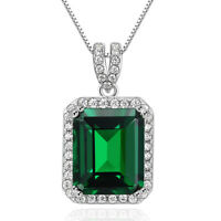 "Halo Green Emerald Cz 925 Sterling Silver Pendant 18"" Chain Necklace For Women"