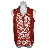 Women's Cannondale Cycling Jersey Sz Large Quarter Zip Red White Hawaiian Floral