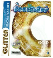 Pool Candy Gold 48 inch Inflatable Glitter Beach and Pool Tube