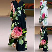 2021 UK Women Long Sleeve V Neck Floral Printed Cocktail Party Kaftan Maxi Dress