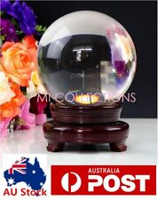80 / 100MM Clear Round Sphere Glass Crystal Artificial Quartz Ball + Wood Stand