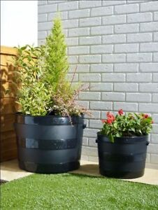 34cm Half Barrel Plant Pot Planter Tub Garden Black Plastic Wood Grain Effect