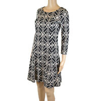 Ex MONSOON Black Jaquard Fit n Flare Knee Length Dress  size 8 only
