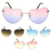 Womens Rimless Tie Dye Oceanic Gradient Lens Heart Sunglasses