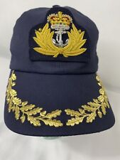 Mauss & Hoffman Mens Medium Embroidered Luxe Navy Captains Cap One Size NWT