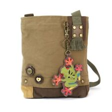 New Chala Handbag Patch Crossbody FROG  Bag Canvas Olive Green w/ Coin Purse