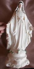 """Grande """" Vierge écrasant le serpent """" Porcelaine de Paris polychrome & or  33 cm"""