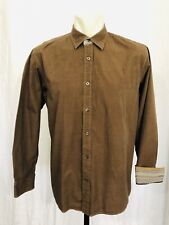 Age Of Wisdom Contrast Flip Cuff Shirt Mens Large Long Sleeved Brown