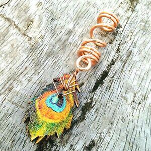 Peacock dread bead, dreadlock bead, wood bead, loc bead, hair jewelry for braids