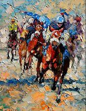 Andre Dluhos Thoroughbred Horse Race Equestrian Jockeys ltd edition Art Print