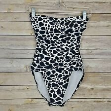 7aa91f4b14 Boston Proper Women's Bathing Suit One Piece Animal Print Removable Strap  Size 4