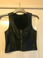 Ladies Black Leather Vest Style Top - Size UK 10/12 - NEW - Gothic