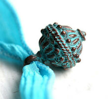 Large Patinated Round Charm Bead Verdigris Copper Ornament Metal Charm F147