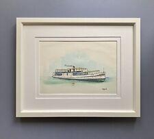 "Original Framed Watercolour ""SS Zephyr"" Old Swan River Ferry"