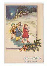 1952 cartolina vintage fp bambini canzoni Natale armonica susafono clarinetto