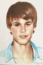 Justin Bieber pop singer Color Charcoal Original 11x17 signed art. 2011