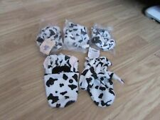 5 SOFT PLUSH BLACK & WHITE COW GLOVE PUPPETS BY NORTH AMERICAN BEAR CO