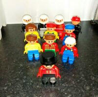 11 LEGO DUPLO FIGURES CIRCUS RING MASTER ZOO FIRE POLICE BIKERS OLDER STYLE