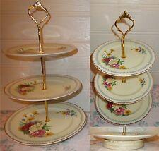 3 TIER PASTRY CAKE PLATE STAND DISPLAY PORTLAND COBRIDGE GILT FLORAL