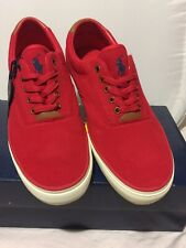 Polo Ralph Lauren Mens Canvas Shoes Thorton II Size 10 Casual Sneaker Red