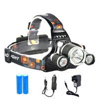 12000LM Lampes frontales 3 XM-L T6 LED USB Rechargeable lampe de poche torche