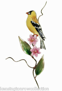 WALL ART - GOLDFINCH WITH PINK ASTERS METAL WALL SCULPTURE - FREE SHIPPING*