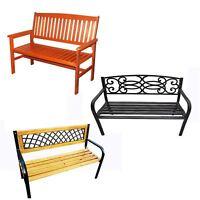 Garden Bench 2-3 Seater Wooden Metal Legs Outdoor Home Patio Furniture Lattice
