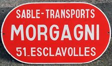 Old French Red Enamel Street road Sign plaque plaque Morgagnii maçonnerie Esclavolles