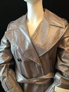 BNWT KAREN MILLEN Women's Belted Grey Polyurethane Trench Coat UK 10 Designer
