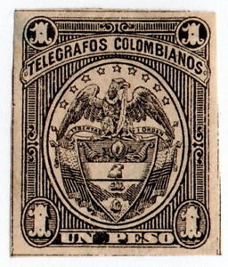 (I.B) Colombia Telegraphs : 1P Black on Buff (1901)