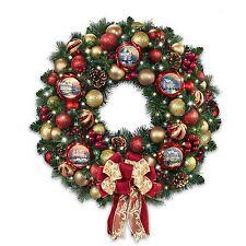 Thomas Kinkade Wreath Lighted Floral Christmas Holiday Wall Door Decor NEW
