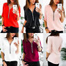 Fashion Women Zip Up Long Sleeve Loose Blouse Casual Summer Chiffon Tops T-Shirt