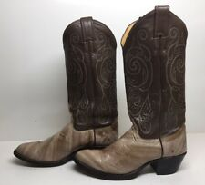 VTG WOMENS JUSTIN COWBOY EEL SKIN LEATHER LIGHT BROWN BOOTS SIZE 6.5 B