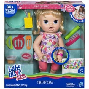 New Baby Alive Snackin Sara - Blonde Doll Makes Baby food English Spanish Sounds