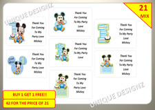 42 Mickey Mouse 1st Birthday Boy Personalised Stickers Rectangle Sweet Cones