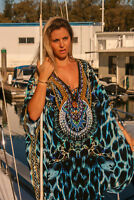 NEW Embellished Long Kaftans Plus Size O/S Size14- 26 Animal Print Blue Viscose