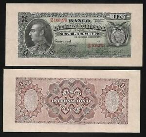 Ecuador, Banco Internacional - Old 1 Sucre Note - 18xx - S172 - UNC