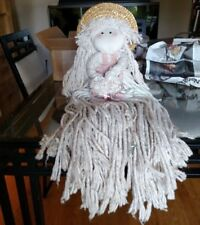 Vintage Mop Doll, holding bouquet, sun hat, Yarn hair, ribbons 28""