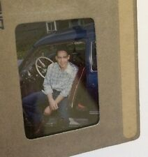 Vintage Slide Young Man Guy with Cap Jeans Sitting Classic Car Automobile