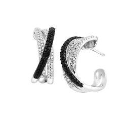 1/2 ct Black & White Diamond Hoop Earrings in Sterling Silver